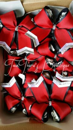 Cheer and softball team bows by Two Tiara's Bowtique on Etsy or Facebook group for more options and recent updates!  Red, black, white, silver