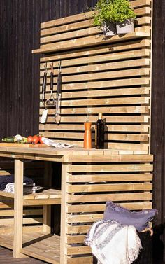 Garage Furniture, Diy Furniture, Pergola Patio, Backyard, Barbeque Design, Terrace Design, Garden Design, Outside Bars, House In The Woods
