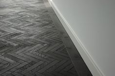 black herringbone timber parquet floor  Would need to fit with the house but it's a dream to have a parquet floor one day (reclaimed).