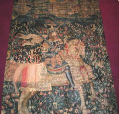 """Tapestry depicting Godefroi de Bouillon (Godfrey of Bouillon) Origin Flanders or France, about 1500 Materials Dyed wool; later repairs Measure 6'6"""" wide by 8'11"""" high"""