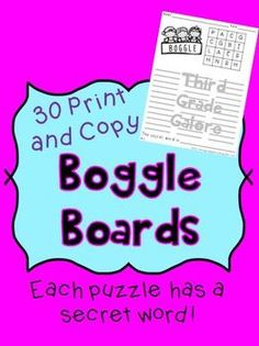 """30 Boggle boards - Letters are already filled in.  Each board also has a """"secret"""" word! $"""