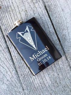 SET OF 3 Personalized Groomsmen Gift,Engraved Flasks, Black Engraved Flasks,8 oz. Hip Flask