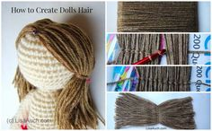 Create your dolls hair easily. If you want the cute little girls pig tails follow these easy pictures and instructions,  See the Rest of the FREE Crochet Pattern HERE