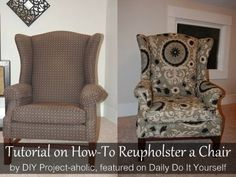 Thorough Tutorial on How-To Reupholster a Wingback Chair by DIY Project-aholic, featured on www.dailydoityourself.com