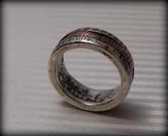 Rustic Sterling Silver Coin Ring and Copper by VictorianMoon, $263.00