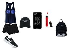 """""""Untitled #119"""" by karleydavis63 ❤ liked on Polyvore featuring Boohoo, Nasaseasons, NIKE, Casetify, Moschino and Boots No7"""