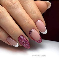Explicitly Beautiful Glitter Nail Art Designs to Look Incredible on This Wedding - Nails - Nail Art Designs Images, French Nail Designs, Simple Nail Art Designs, Best Nail Art Designs, Glitter Nail Art, Nail Art Diy, Easy Nail Art, Gel Nail Art, Nagellack Design