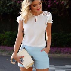 TAMANHO P TAMANHO M TAMANHO G 38 40 42 Sewing Blouses, Casual Outfits, Cute Outfits, Moda Casual, Casual Looks, Dress Skirt, T Shirts For Women, Silk, Lady