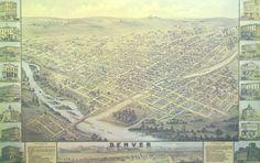 Denver in 1874 Antique Reproduction Map $37.50