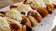 Katie Lee's West Virginia-Style Hot Dogs Recipe | Rachael Ray Show - make in slow cooker. Add beans for nachos
