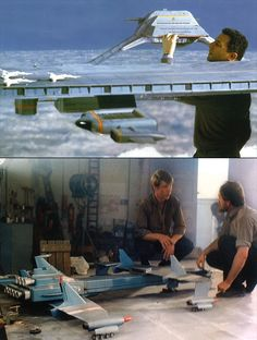 The top picture is a flying aircraft carrier, from Captain Scarlet. The bottom picture is of Zero X, the HUGE space craft that was the first to reach mars, however, the first Zero X crashed. (Thunderbirds are Go! Joe 90, Thunderbirds Are Go, Sci Fi Models, Model Maker, Sci Fi Tv, Science Fiction Art, Movie Props, Visual Effects, Stop Motion