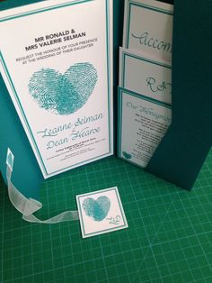 Wedding Pocket Fold Invitations #wedding #invitations #hearts #thumbprint #teal #love #together by Stef Hinkley