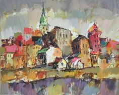 Artwork >> Sergey Yatnov >> Spring at the Vltava river Artworks, River, Spring, Painting, Painting Art, Paintings, Painted Canvas, Rivers, Drawings