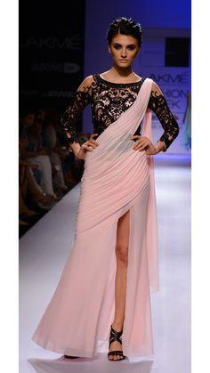 Sonaakshi Raaj's Pink and Black Saree Party Wear Gown  @Looksgud.in #SonaakshiRaaj, #Pink, #SareeGown, #PartyWear