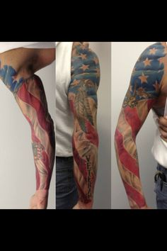 Full American Flag sleeve live Wire Arts Artist-Chris Mason