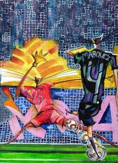 "Saatchi Online Artist daniel levy; Painting, ""goal kicking cats"" #art"