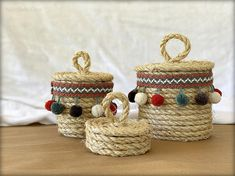 These little rope containers/baskets are so addicting to make. I ran out of rope yesterday and literally tried to think of where I cou. Big Basket, Cut The Ropes, Basket Planters, Pom Pom Trim, Straw Bag, Baskets, Wraps, Container, Crafty