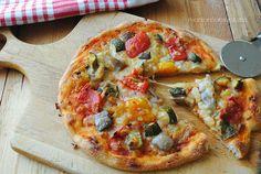 pizza de pisto de verduras, pizza vegetariana