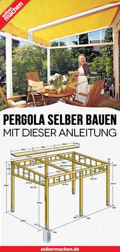 This pergola offers practical sun protection for the terrace Here's the free guide with blueprint! The post Building a Pergola: Free Guide appeared first on Pinova - Woodworking Diy Pergola, Building A Pergola, Corner Pergola, Wooden Pergola, Gazebo, Pergola Carport, Cheap Pergola, Pergola Attached To House, Pergola Designs