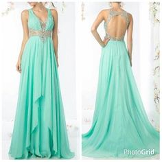 Floor Length A-Line Prom and Evening Dress has Ruched Bodice with V Neck, Sparkling Beading Embellished Waistline and Round Cutout Back with Invisible Zipper Closure, Long Softly  Chiffon Skirt with Sweeping Train Completes the Style.  Please specify ...