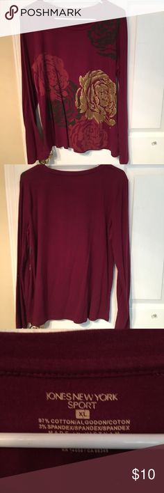 Jones New York Long Sleeve Tee Sz XL The rose design dress this tee up! Soft material, slightly stretchy. Excellent condition. Jones New York Tops Tees - Long Sleeve