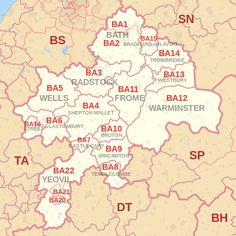 BA postcode area map, showing postcode districts, post towns and neighbouring postcode areas.