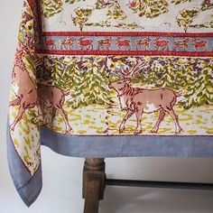 Beautifully designed French country tablecloths to suit your home. Handmade French design, explore The Couleur Nature french tablecloth collection now.tagged_html. Velvet Quilt, Christmas Table Cloth, Winter Fun, Winter Season, Table Linens, Pottery Barn, French Country, Reindeer, Handmade