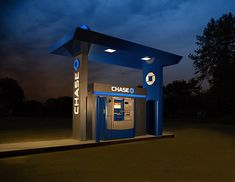 Chase project: Shoot ATMs, don't get arrested Atm Bank, Kiosk Design, Filling Station, Gas Station, Car Wash, Low Lights, Canopy, High School, Urban