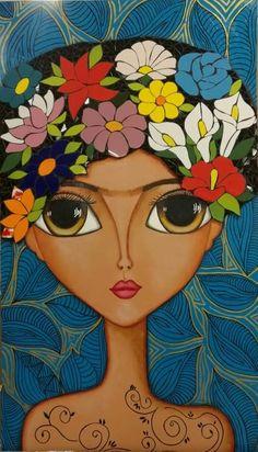 Big Eyes Paintings, Fantasy Paintings, Fantasy Art, Watercolor Paintings, Whimsical Art, Portrait Art, Female Art, Garden Art, Paper Dolls