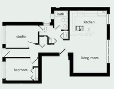 this is the exact layout i want in my next place. i love the kitchen being open to the living room, the central bathroom, small bedroom, and an office (separate for tax deductions! :))