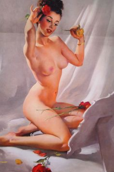 """Nude with Roses Pin Up Calendar from 1950 12"""" x 24"""""""