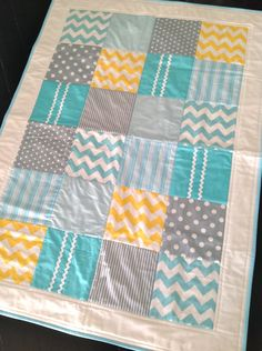 Baby Boy Crib Quilt  in modern Geometric style..one of a kind, ready to ship. $130.00, via Etsy.
