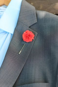 Coral Red Carnation Linen Flower, boutonniere, button back pin, lapel pin