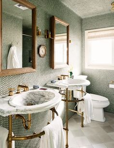 Bathroom Furniture : Marble and brass sinks? Sign me up! -Read More –