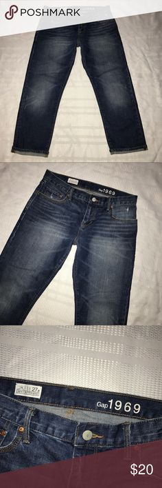 """Gap 1969 sexy boyfriend distressed jeans size 27 P Nice jeans that come with the sexy boyfriend fit, have sandblasting, and distressing throughout. The jeans are 100% cotton. They have been worn before and are still in excellent condition. The waist measures 30"""", the inseam is 24"""", the rise is 8.5"""" GAP Jeans Boyfriend"""