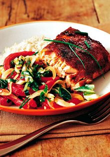 Dry Rub Barbecued Fillet of Salmon with Bok Choy Salad