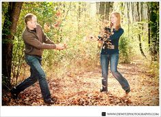 Throwing Leaves at Irvine Park - Engagement Photos