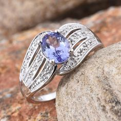 Tanzanite (Ovl 1.80 Ct), White Topaz Ring in Platinum Overlay Sterling Silver Nickel Free (Size 9.0) TGW 1.980 cts.
