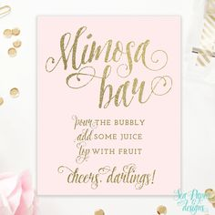 Blush Pink & Gold Glitter - Mimosa Bar Sign - Pop, Fix, Clink Champaign Bar…
