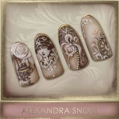 Nail design with Moyra Stamping plate No. 05 Vintage and No. 12 Faces… … in 2019 Vintage Nail Art, Nagel Stamping, Nailart, Instagram Nails, Manicure E Pedicure, Gel Nail Art, Nail Polish, Dream Nails, Beautiful Nail Designs