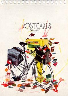"""Los pájaros de Verónica Algaba: ilustración """"postcards from Paris"""""""