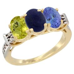 14K Yellow Gold Natural Lemon Quartz, Lapis and Tanzanite Ring 3-Stone 7x5 mm Oval Diamond Accent, sizes 5 - 10 * New and awesome product awaits you, Read it now  : Jewelry Ring Bands