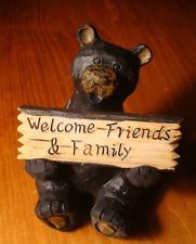 HOME SWEET HOME / WELCOME FRIENDS & FAMILY Black Bear Lodge Sign Cabin Decor NEW Black Bear Lodge, Black Bear Cub, Rustic Walls, Rustic Wall Decor, Christmas Tree With Presents, Bear Signs, Cabin Signs, Mountain Decor, Vintage Teddy Bears