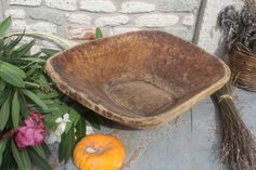 Antique Wooden Dough Bowl - I love these.
