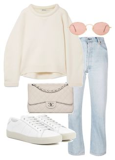 A fashion look from January 2018 featuring sleeve top, blue jeans and yves saint laurent shoes. Browse and shop related looks. Kpop Fashion Outfits, Mode Outfits, Korean Outfits, Cute Casual Outfits, Retro Outfits, Stylish Outfits, Look Fashion, Korean Fashion, Teenager Outfits