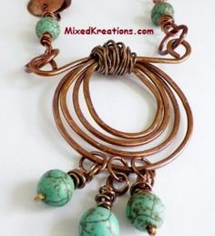 Wrapped Spiral and Howlite Dangles Necklace