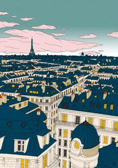 Poster Paris - 20 x 28 in Illustration Parisienne, House Illustration, Travel Illustration, Tour Eiffel, City Drawing, Paris Drawing, Paris Poster, Paris Painting, Scenery Wallpaper