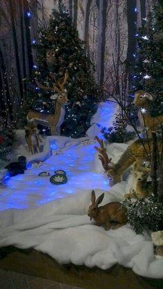 50 Christmas Village Window Display Ideas – Home to Z Woodland Christmas, Noel Christmas, Outdoor Christmas, Winter Christmas, Christmas Mantles, Christmas Windows, Christmas Gifts, Christmas Ornaments, Christmas Village Display