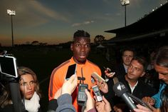 Paul Pogba speaks to the media prior to a Juventus training session...