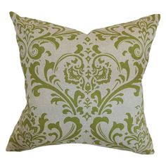 The Pillow Collection Olavarria Damask Pillow Olive Linen - P18-PP-TRADITIONS-OLIVELINEN-C